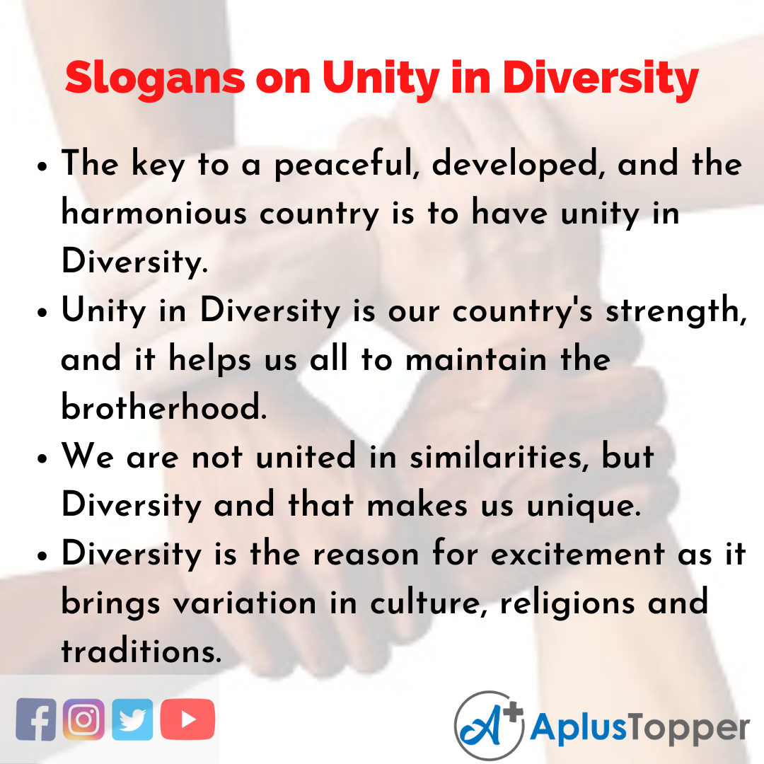 5 Slogans on Unity in Diversity in English