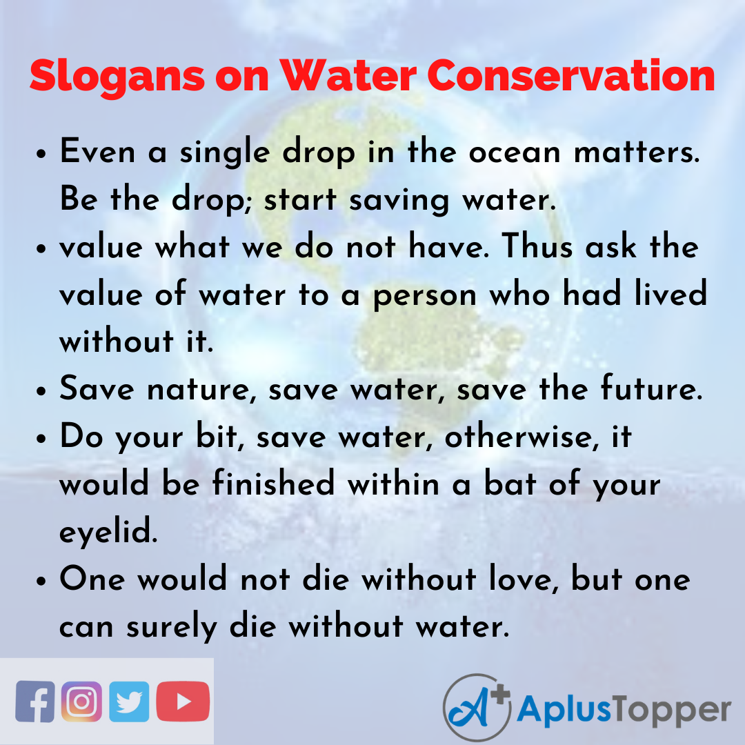 5 Slogans on Water Conservation in English