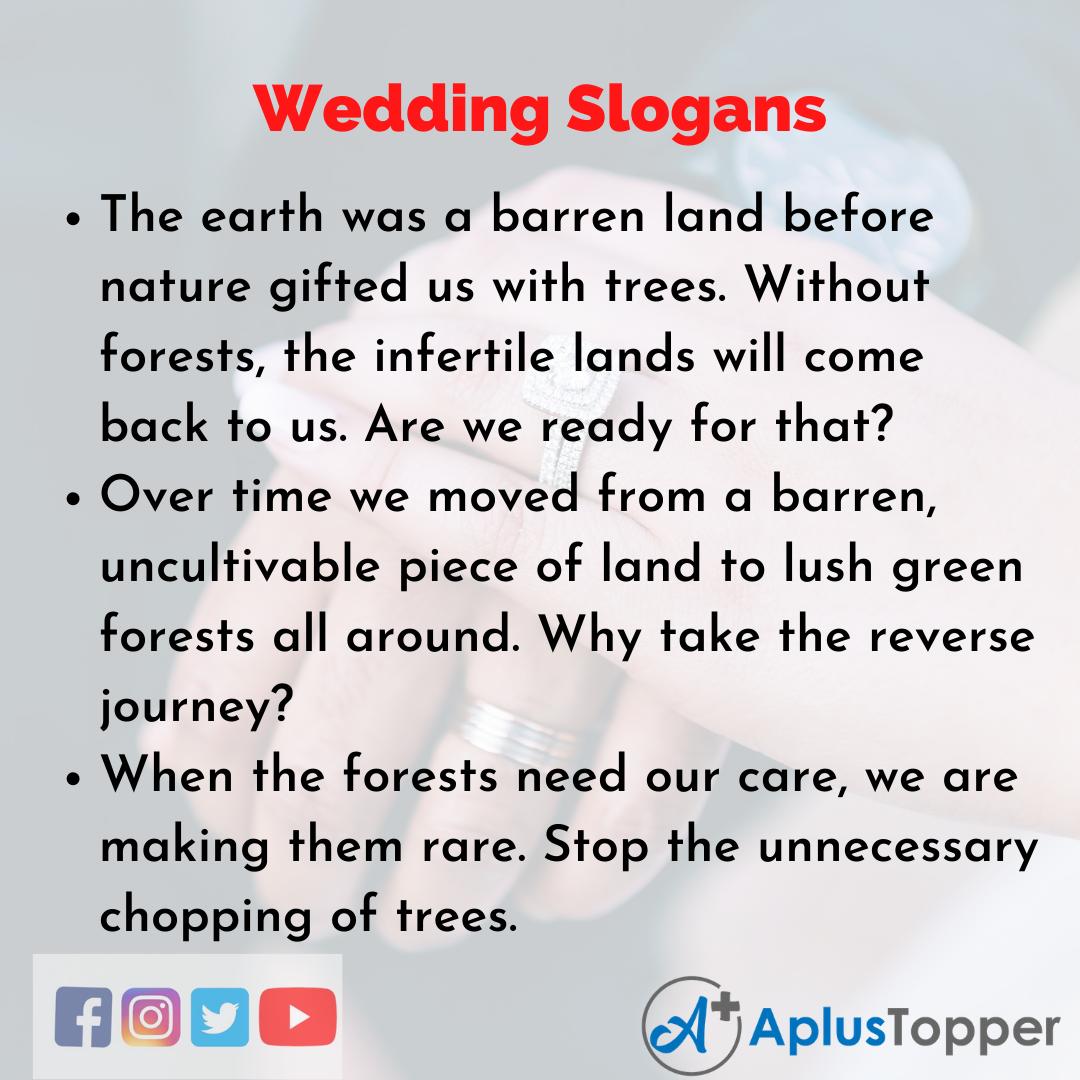 5 Slogans on Wedding in English