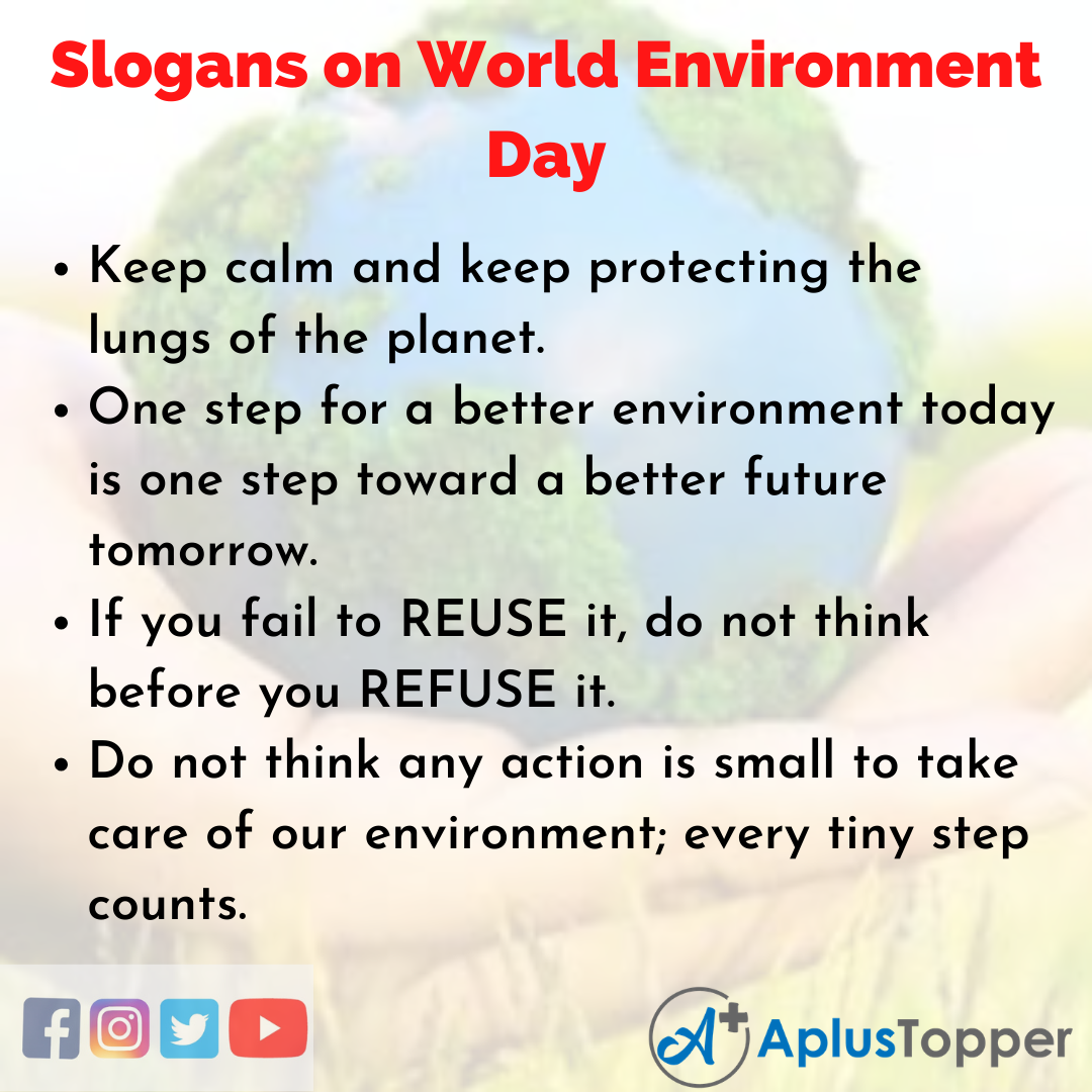 5 Slogans on World Environment Day in English