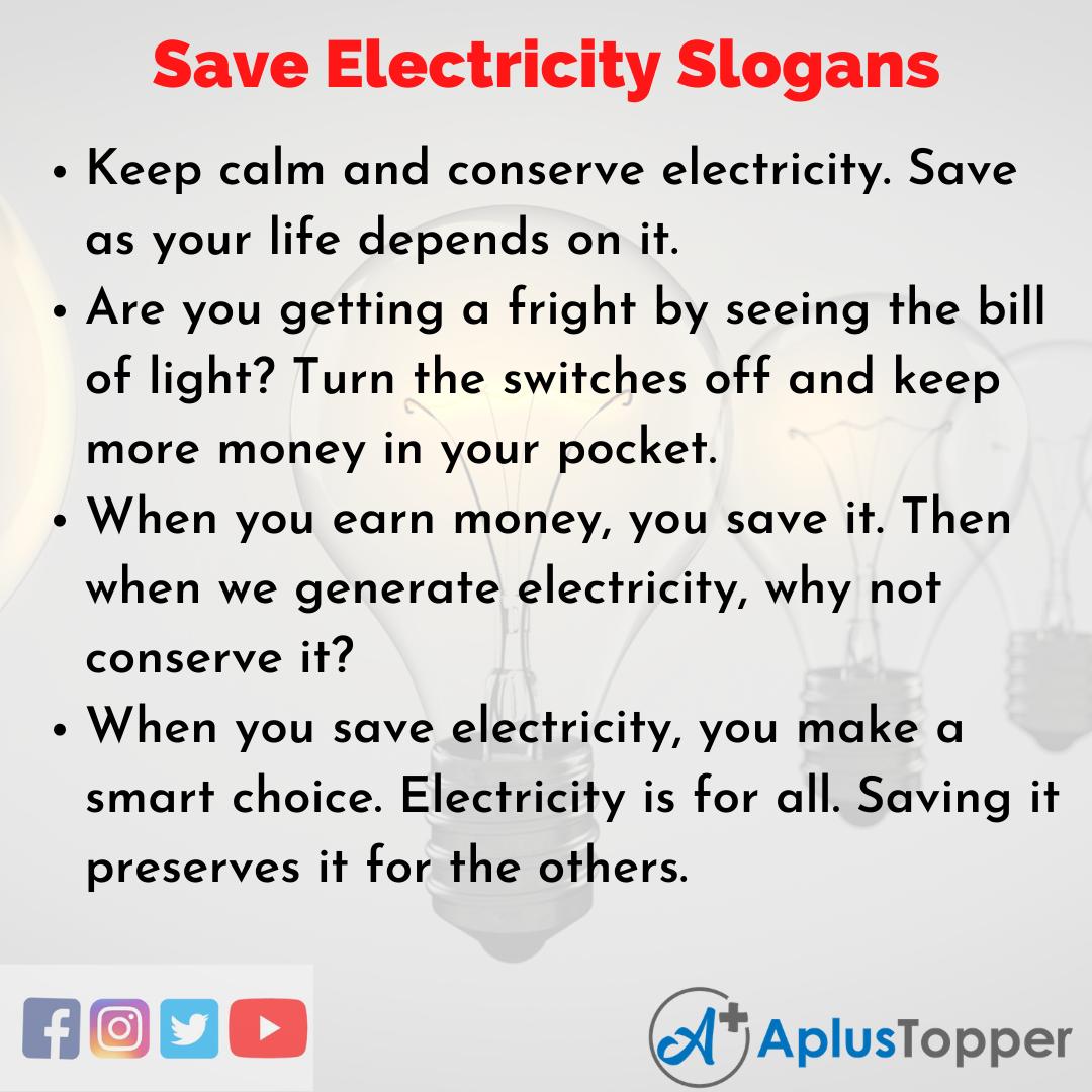 Catchy Save Electricity Slogans