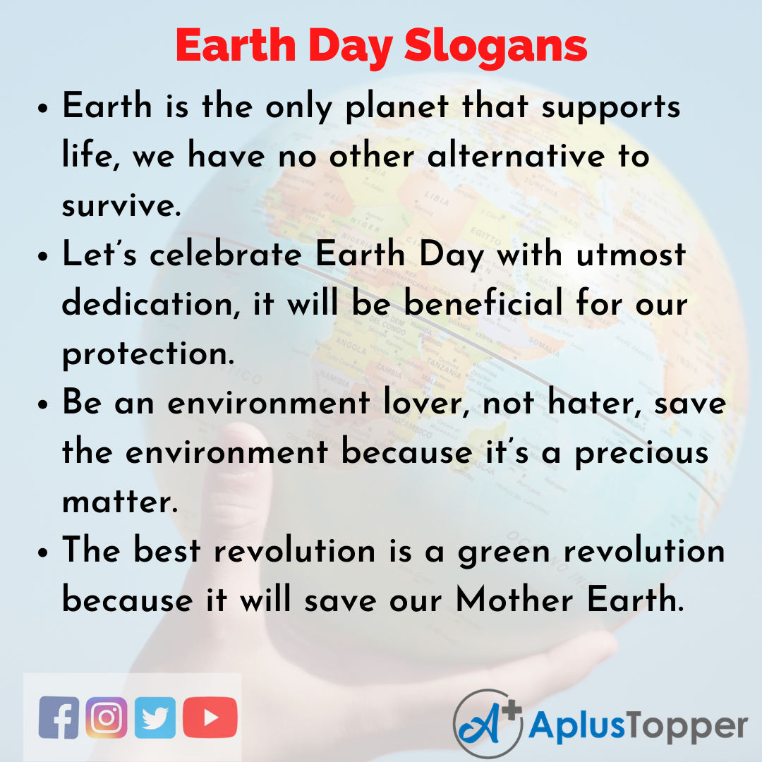 Catchy Slogans On Earth Day