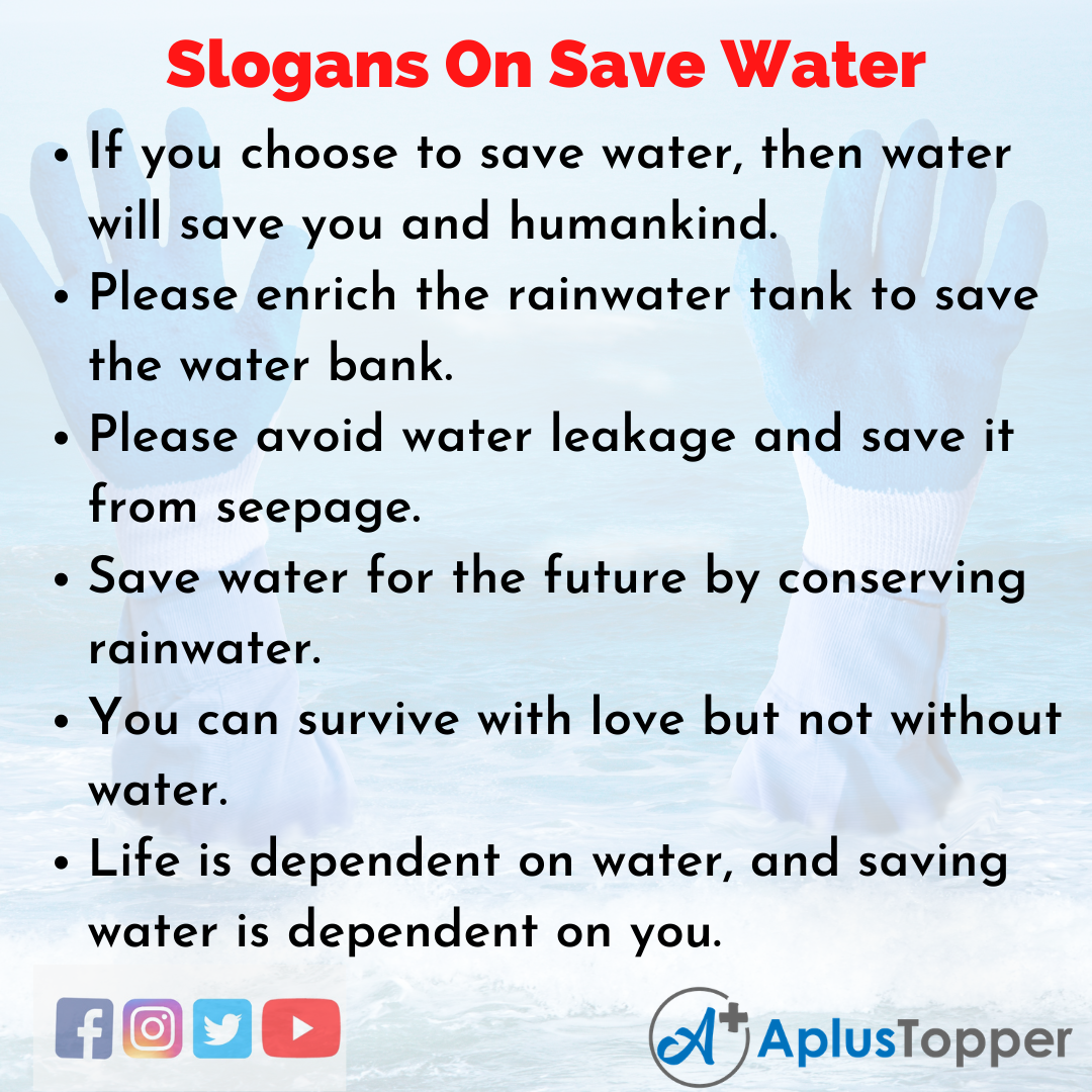 Catchy Slogans on Save Water