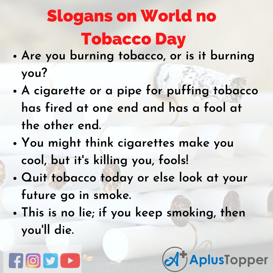 Catchy Slogans on World no Tobacco Day
