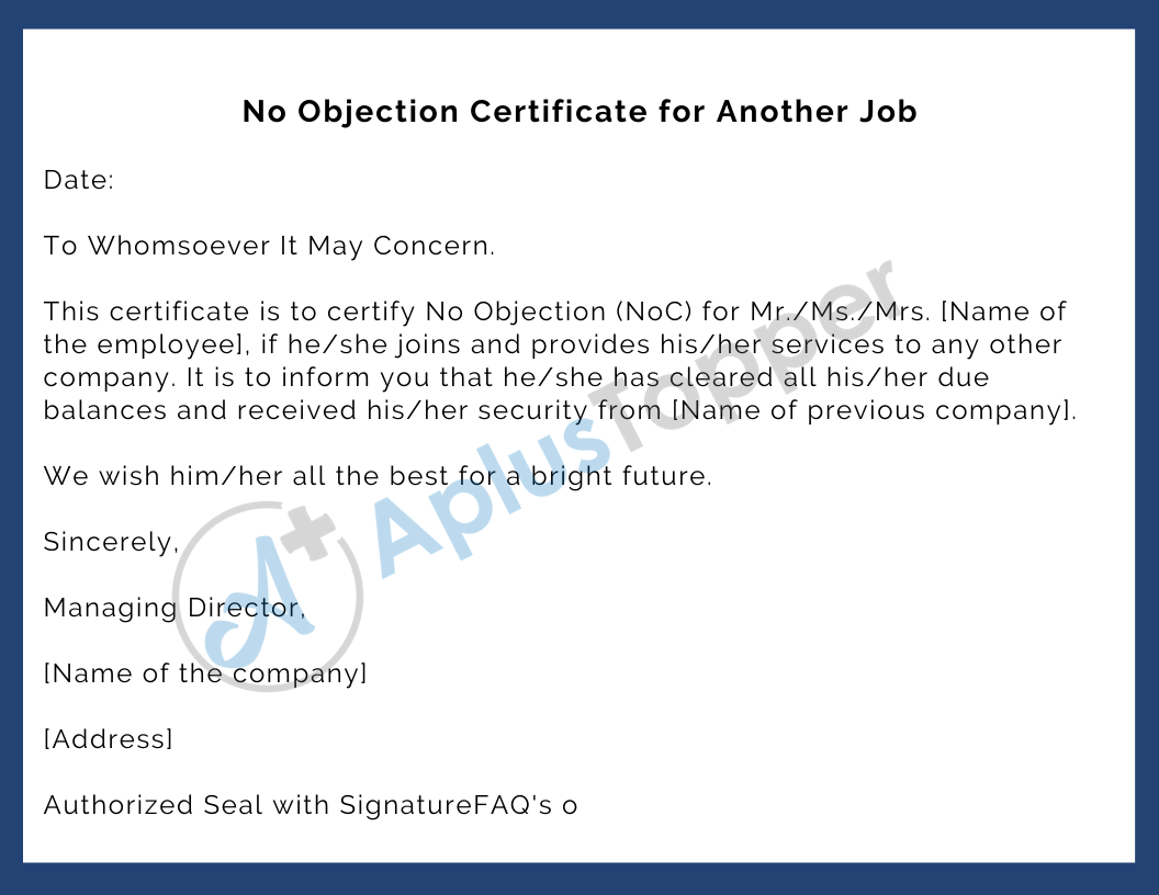 No Objection Certificate for Another Job
