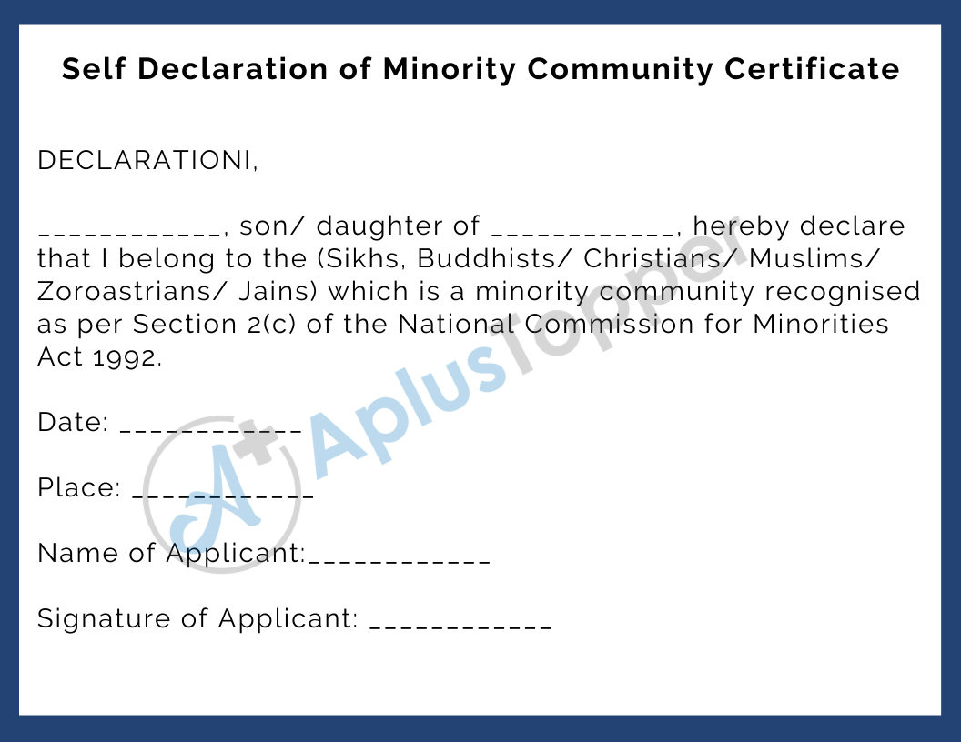 Self Declaration of Minority Community Certificate pdf