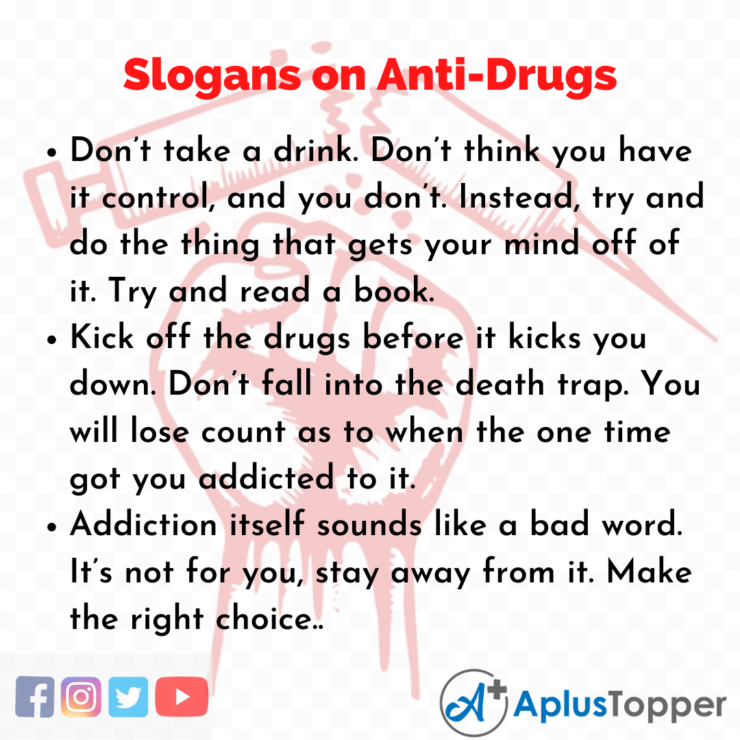 Slogans on Anti-Drugs in English