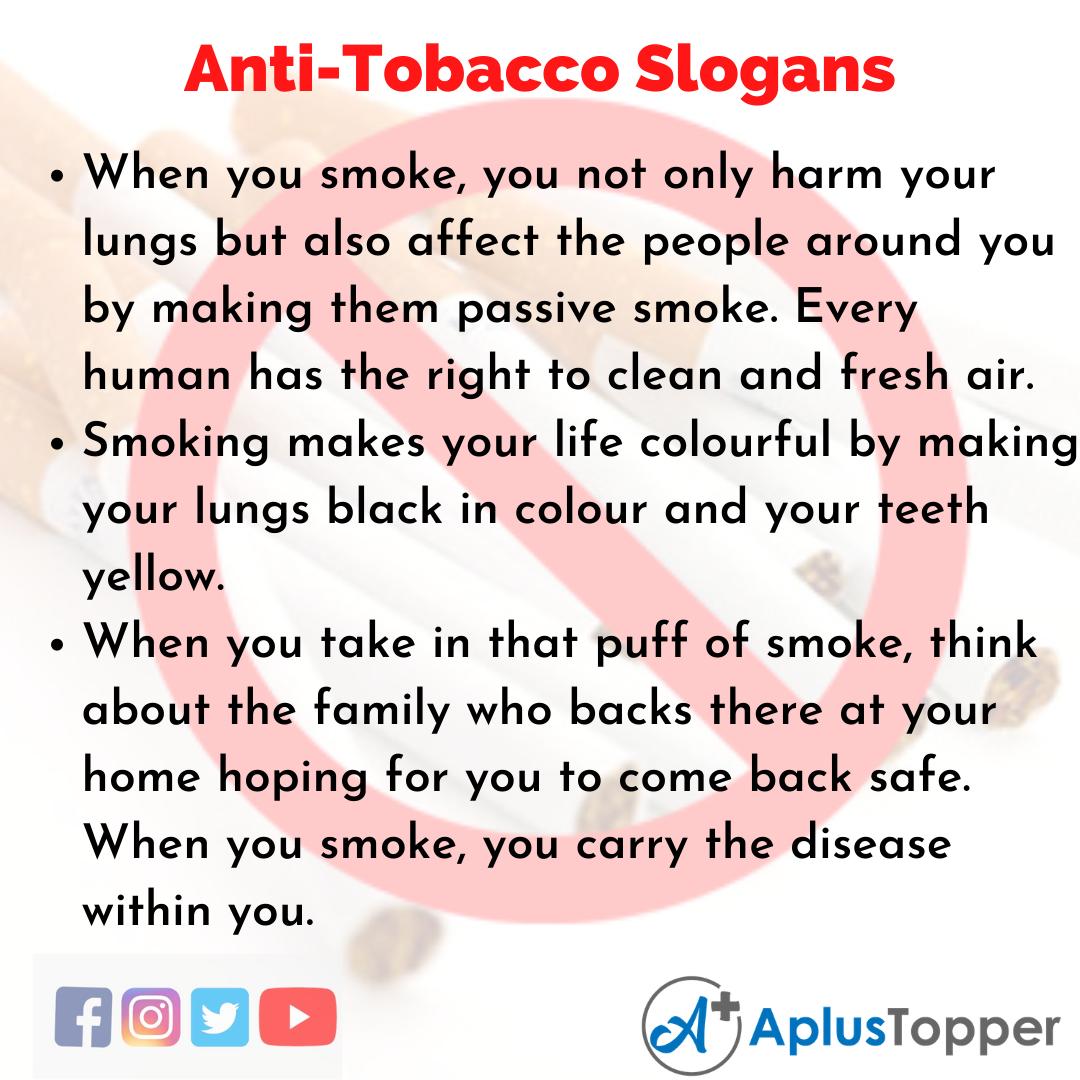 Slogans on Anti-Tobacco in English