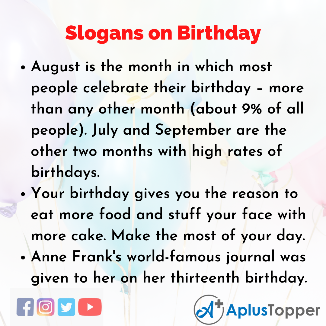 Slogans on Birthday in English