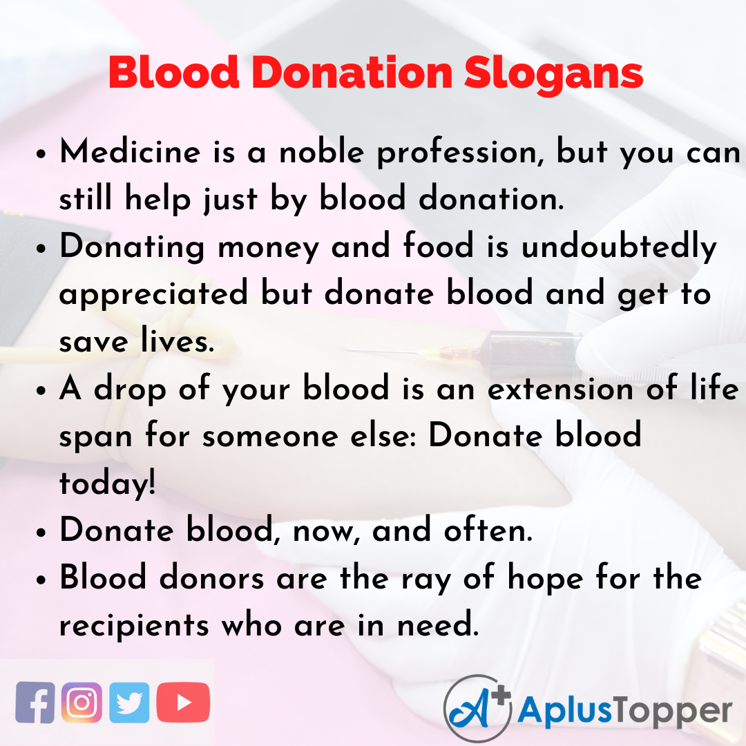 Slogans on Blood Donation in English