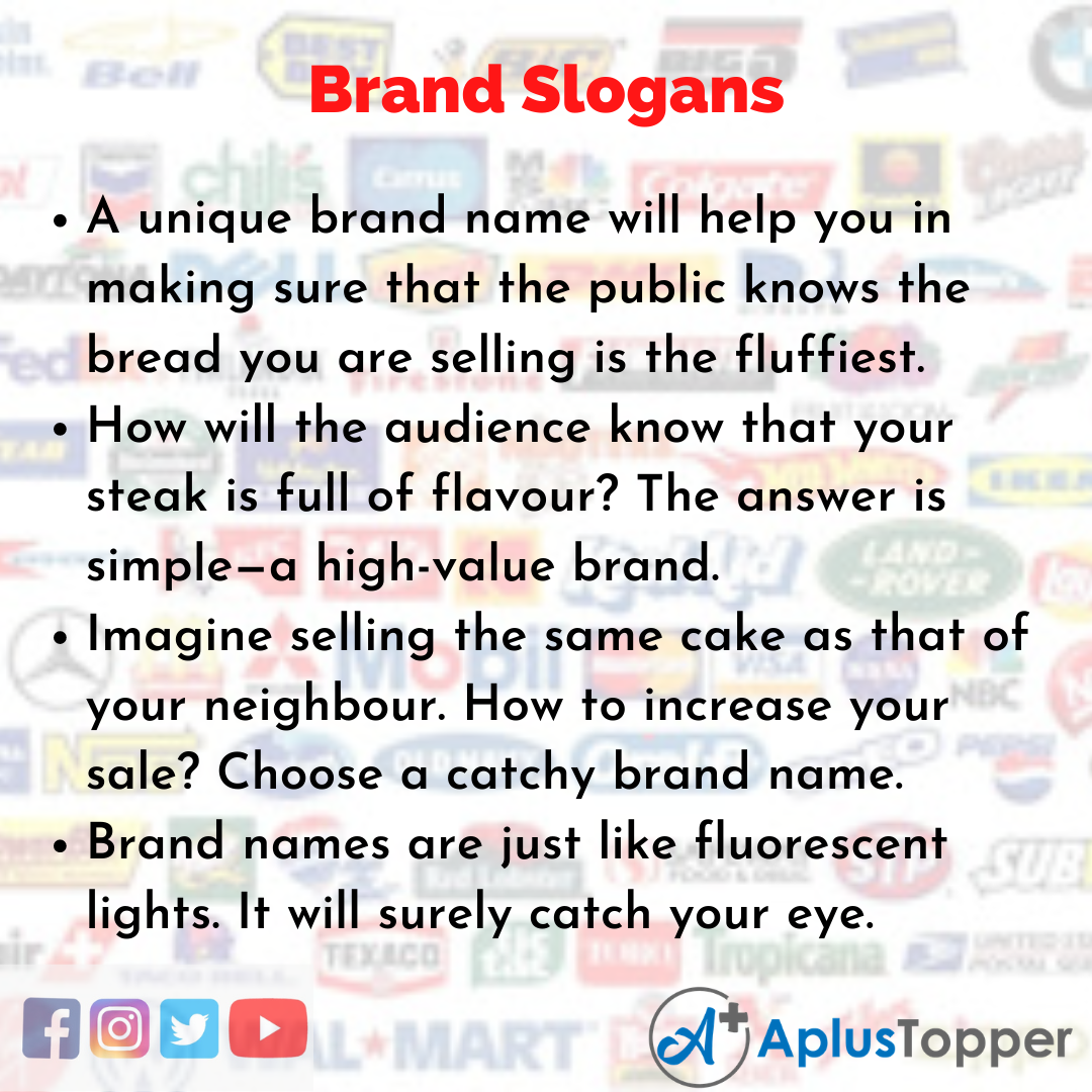 Slogans on Brand in English