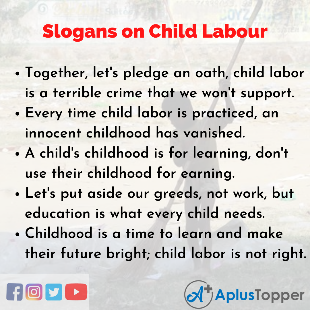 Slogans on Child Labour in English