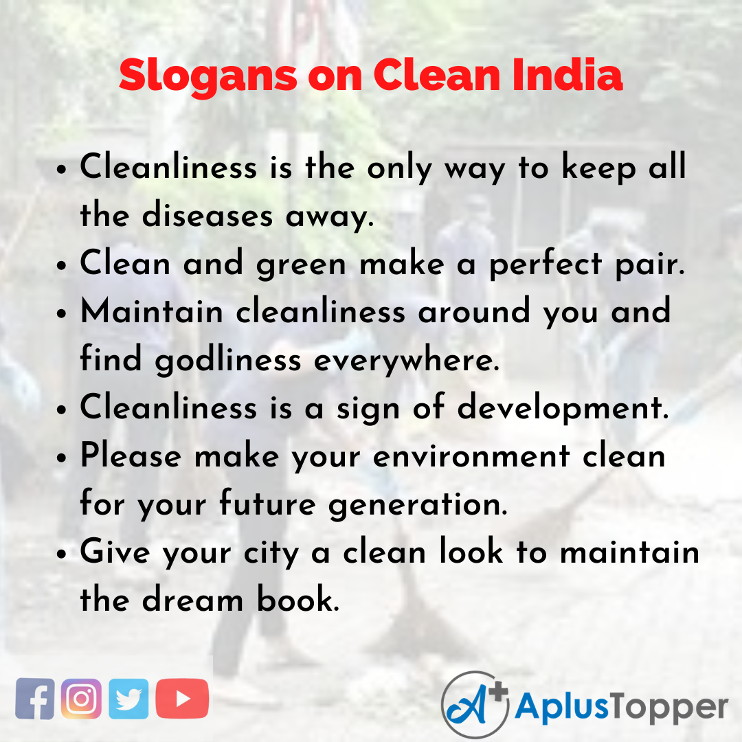 Slogans on Clean India in English