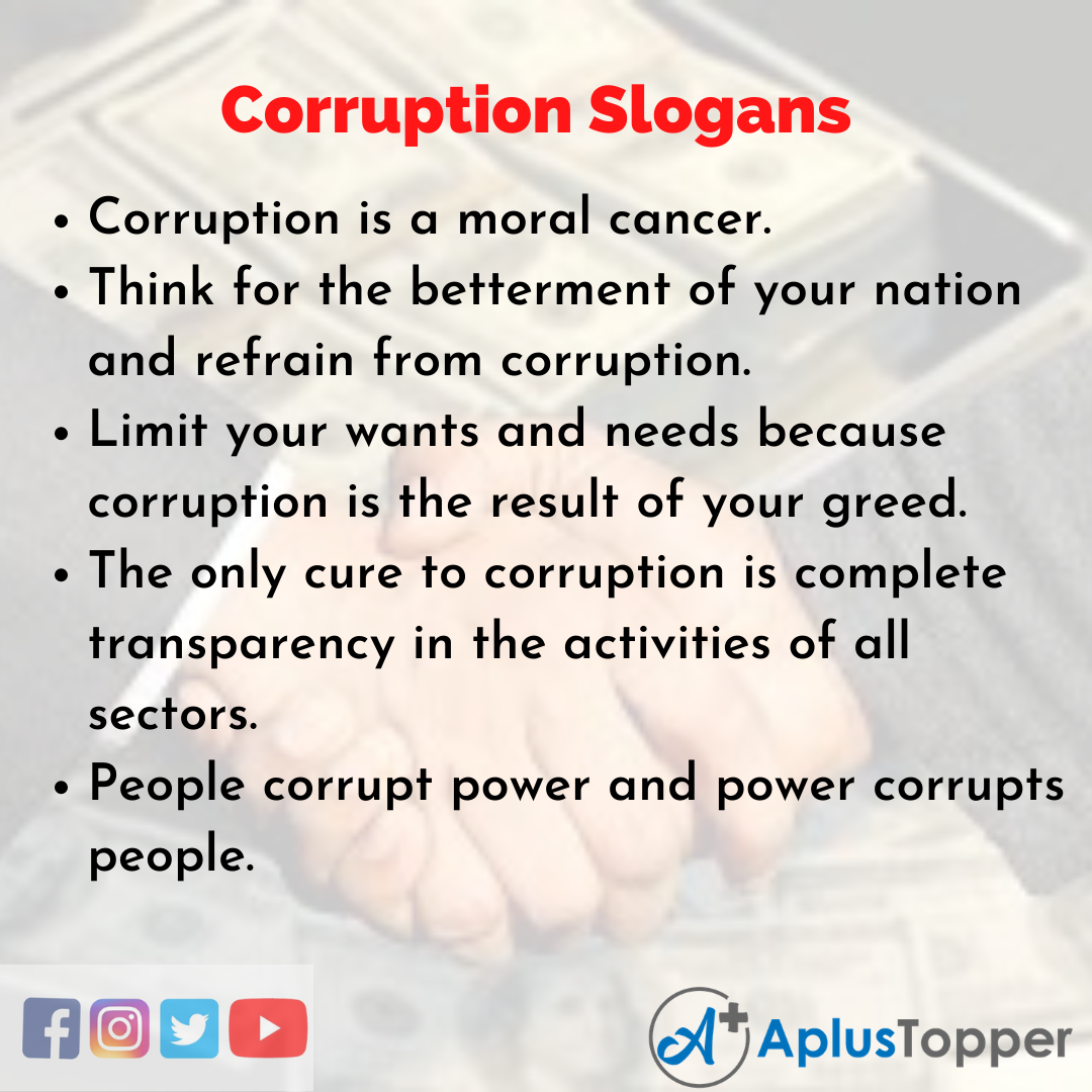 Slogans on Corruption in English