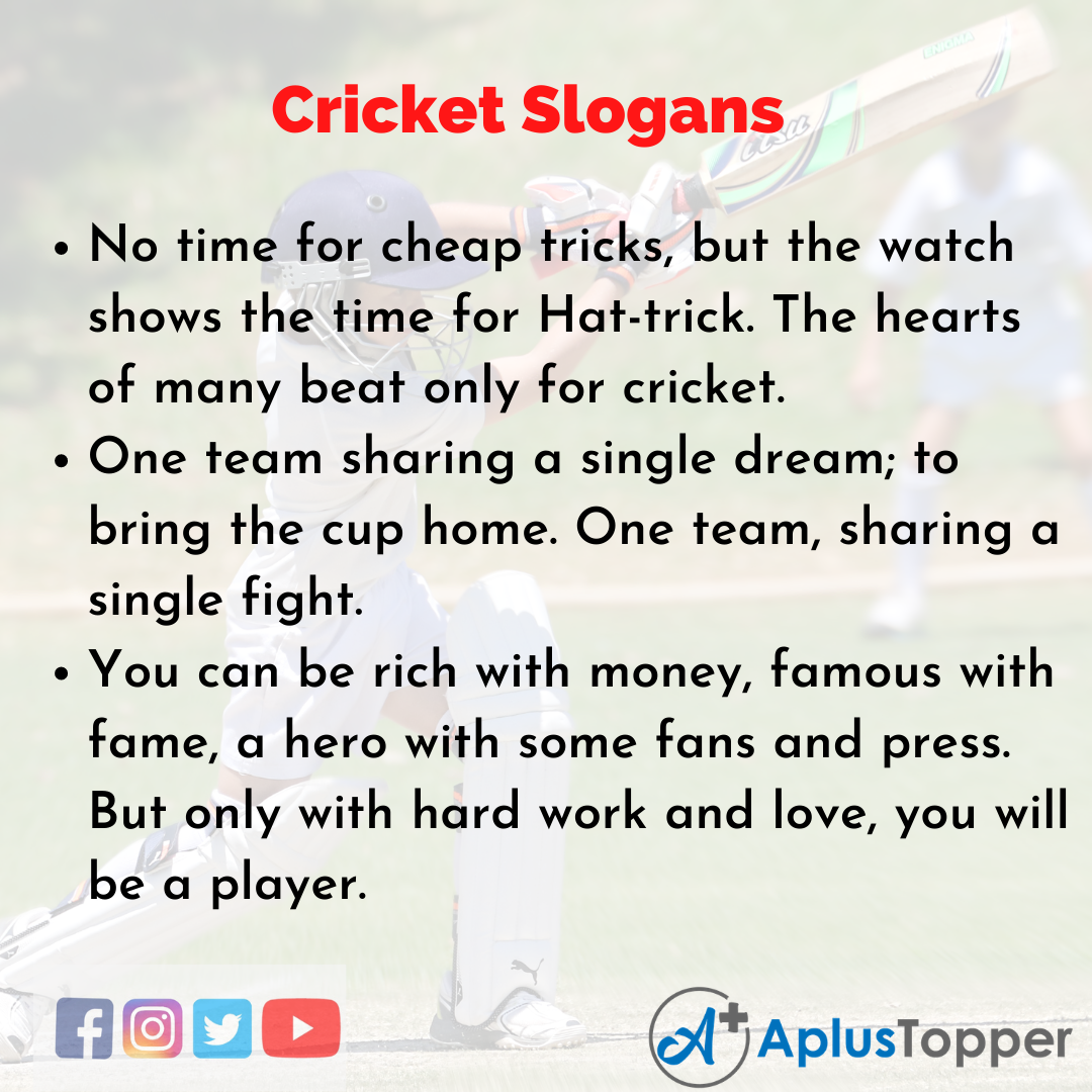 Slogans on Cricket in English