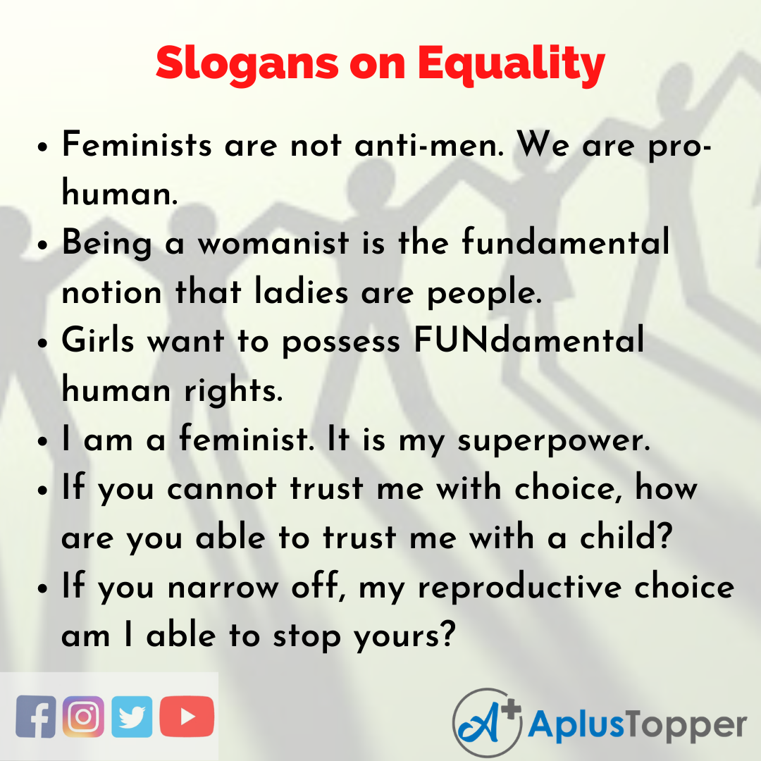 Slogans on Equality in English