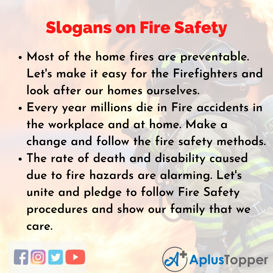 Slogans on Fire Safety in English