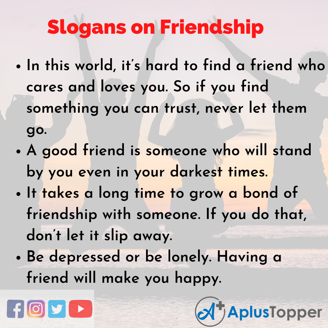 Slogans on Friendship in English
