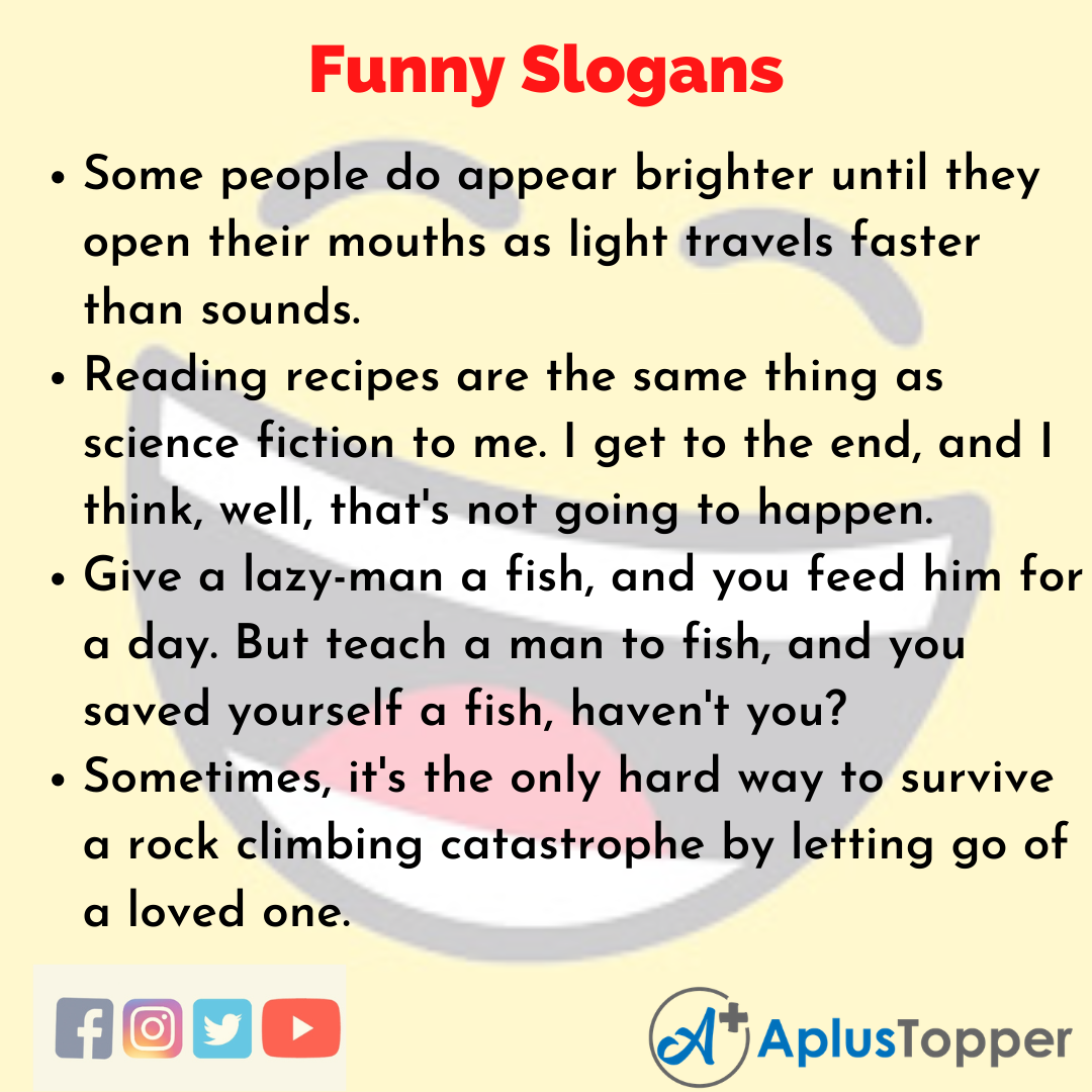 Slogans on Funny in English