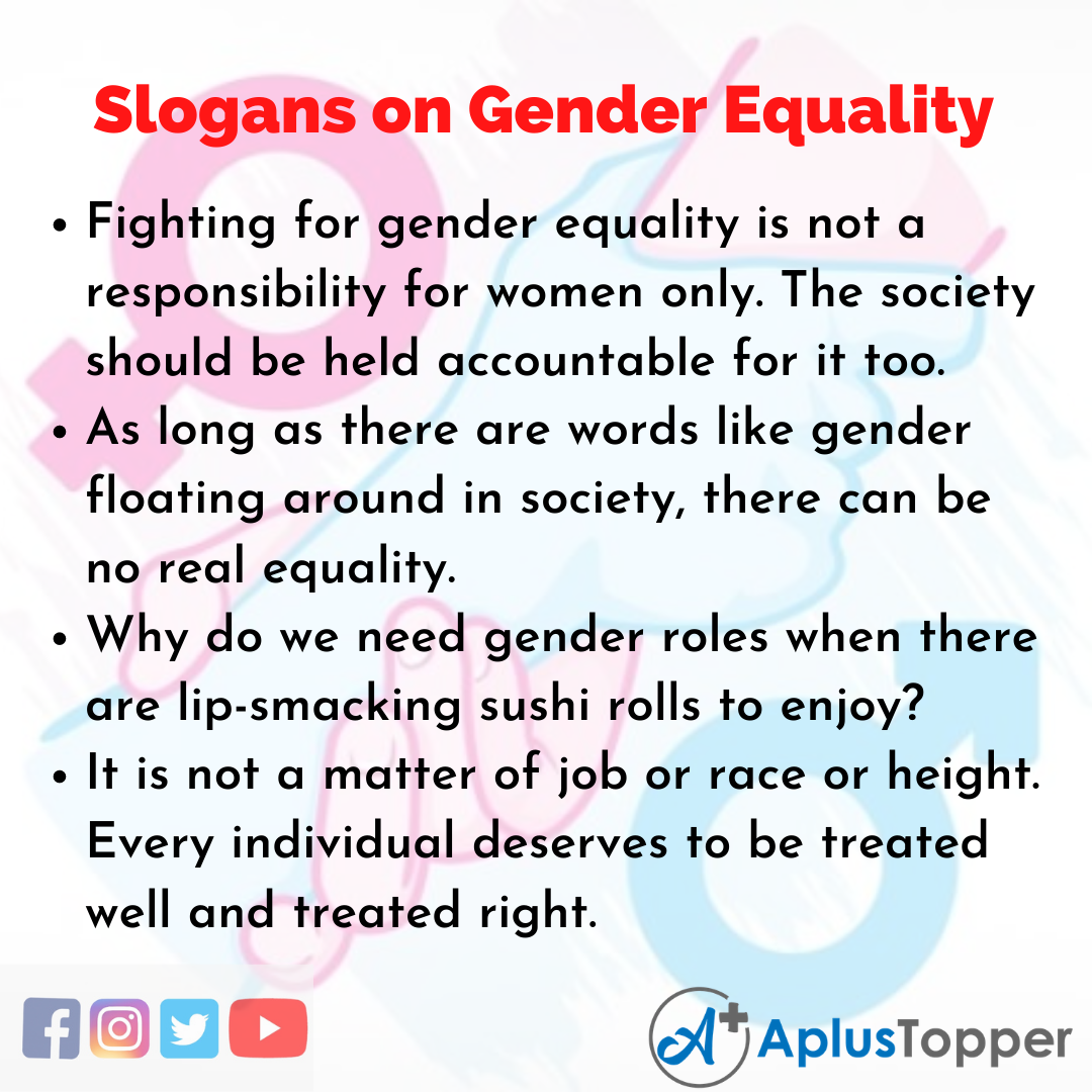 Slogans on Gender Equality in English