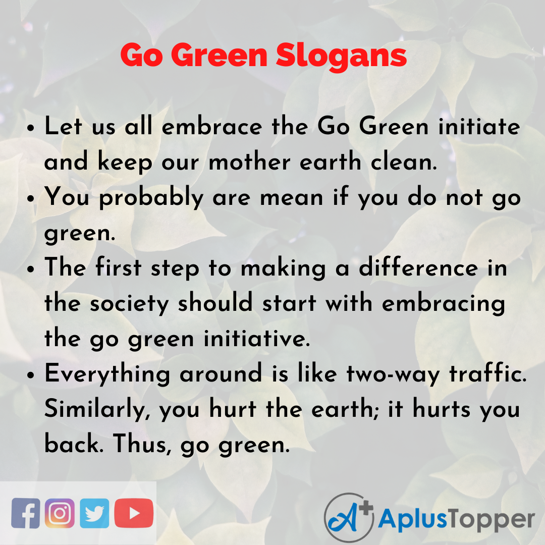 Slogans on Go Green in English