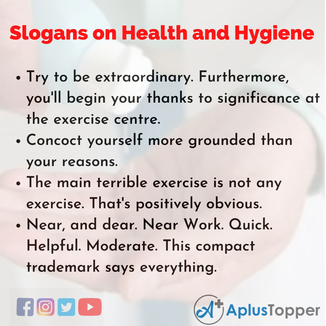 Slogans on Health and Hygiene in English