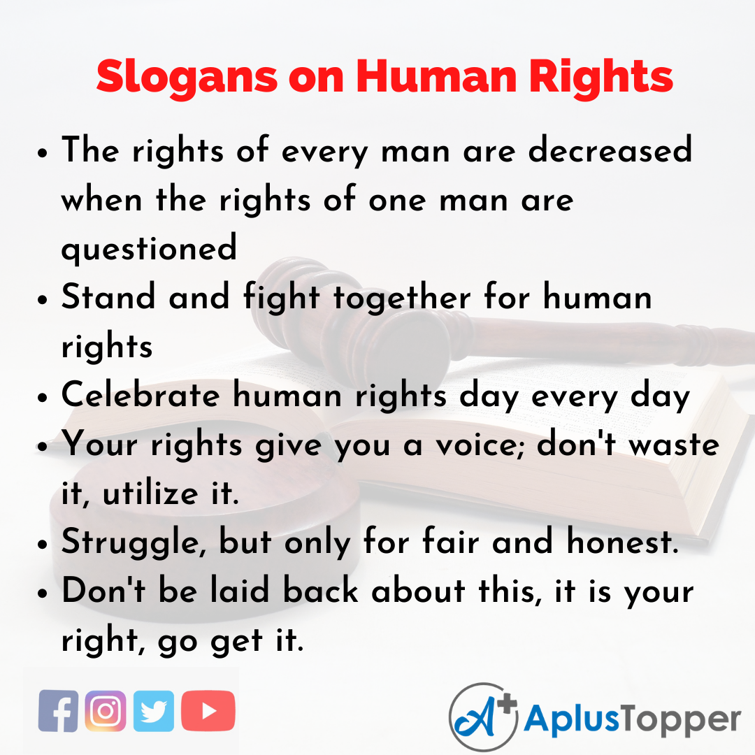 Slogans on Human RIghts in English