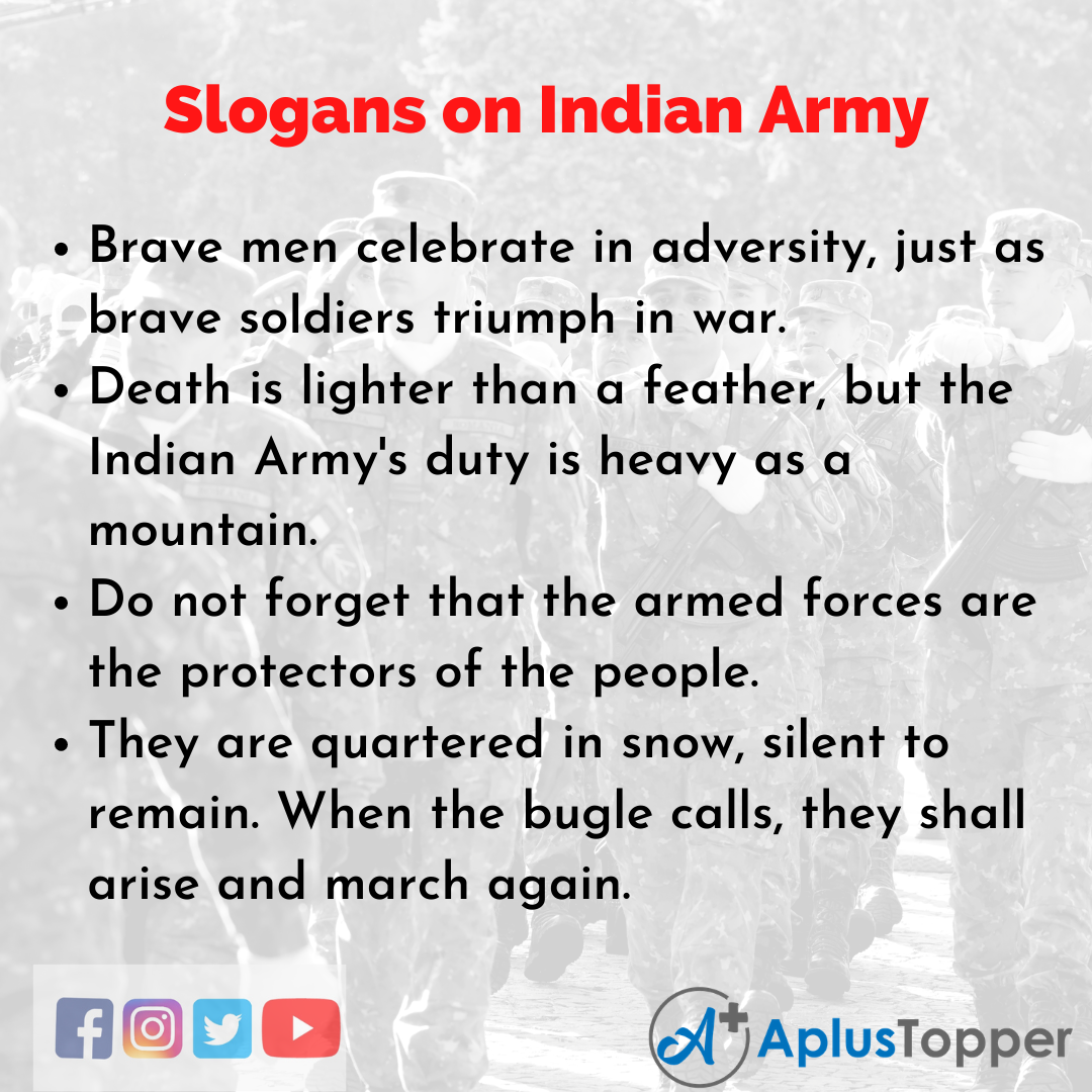 Slogans on Indian Army in English