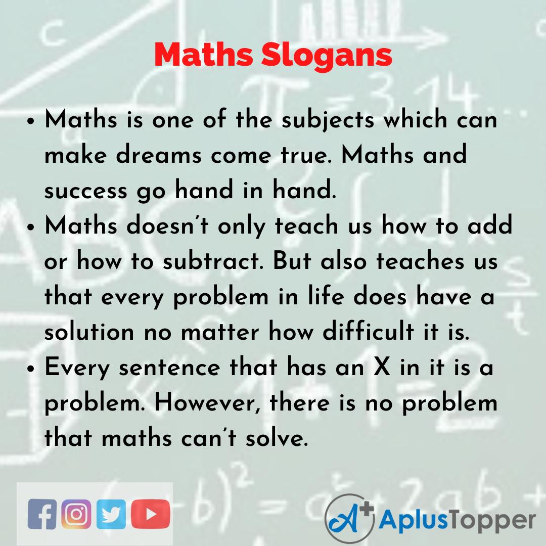 Slogans on Maths in English
