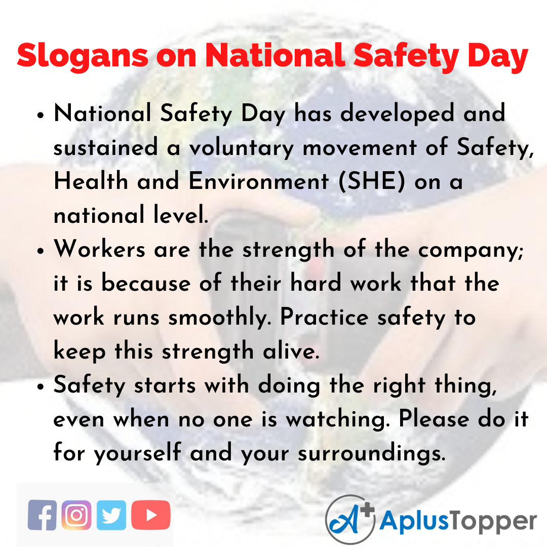 Slogans on National Safety Day in English
