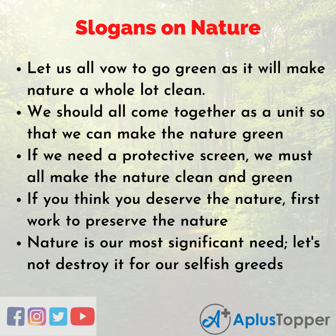 Slogans on Nature in English