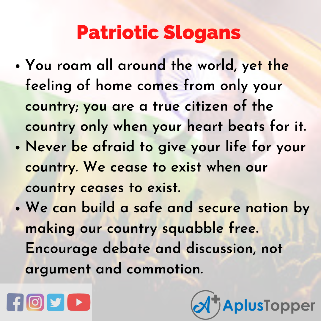 Slogans on Patriotic in English