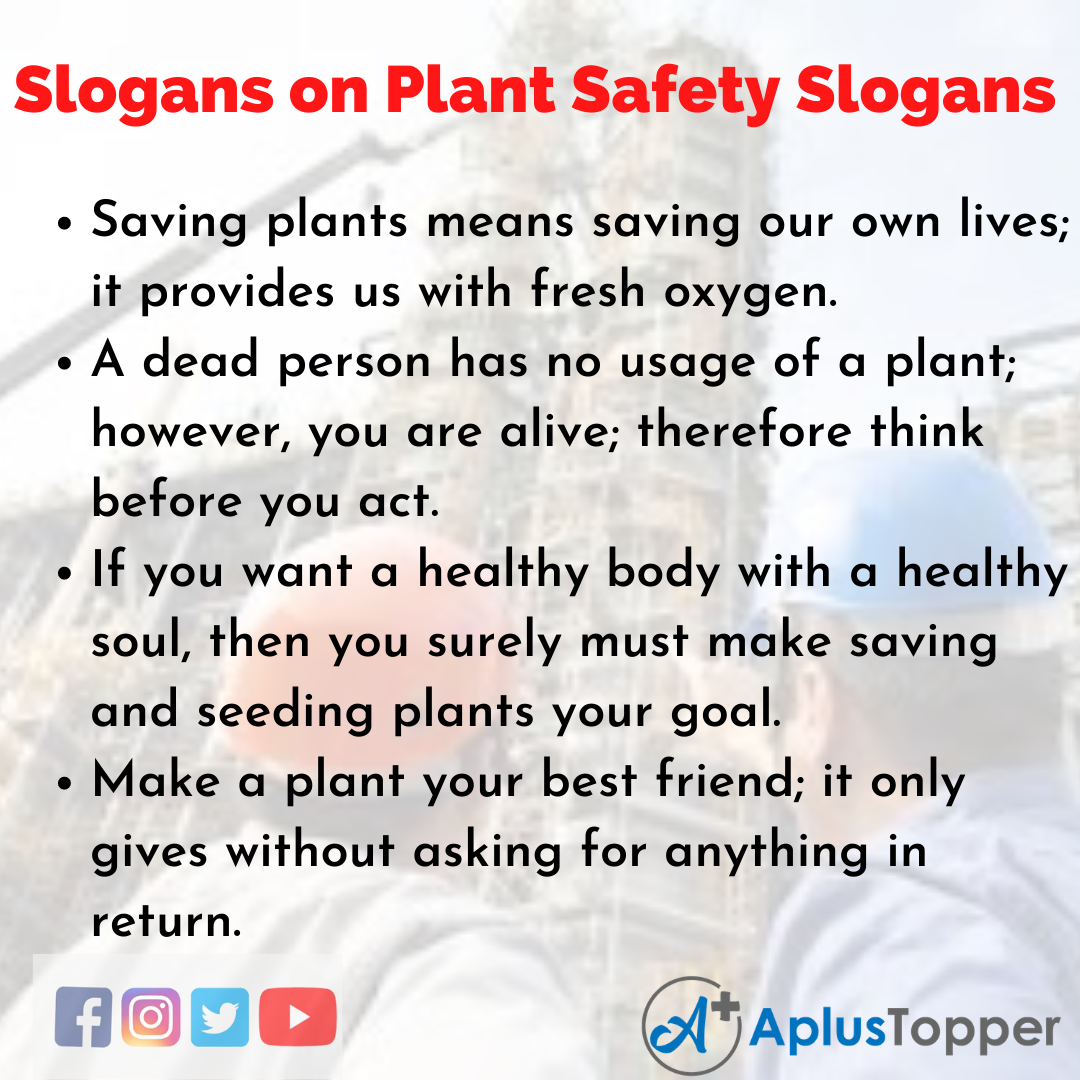 Slogans on Plant Safety Slogans in English