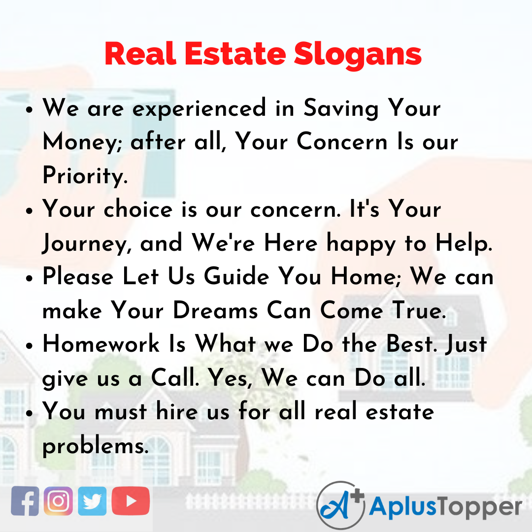 Slogans on Real Estate in English
