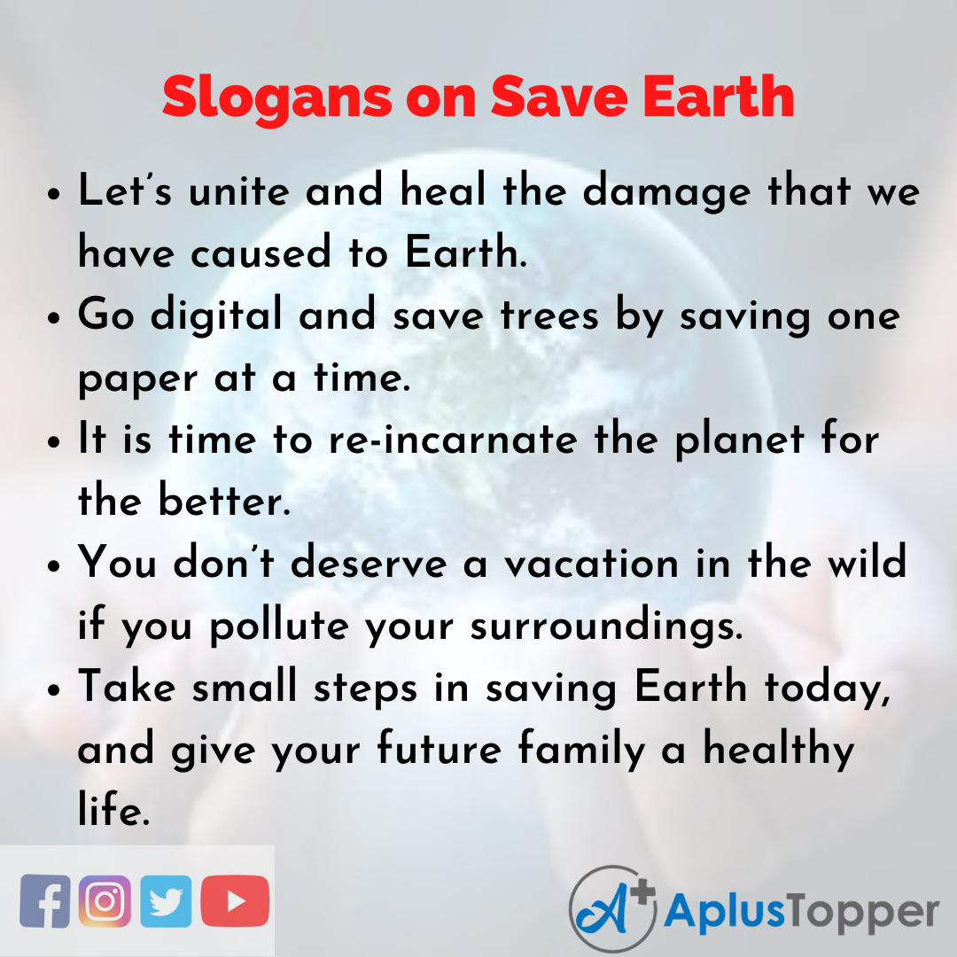 Slogans on Save Earth in English