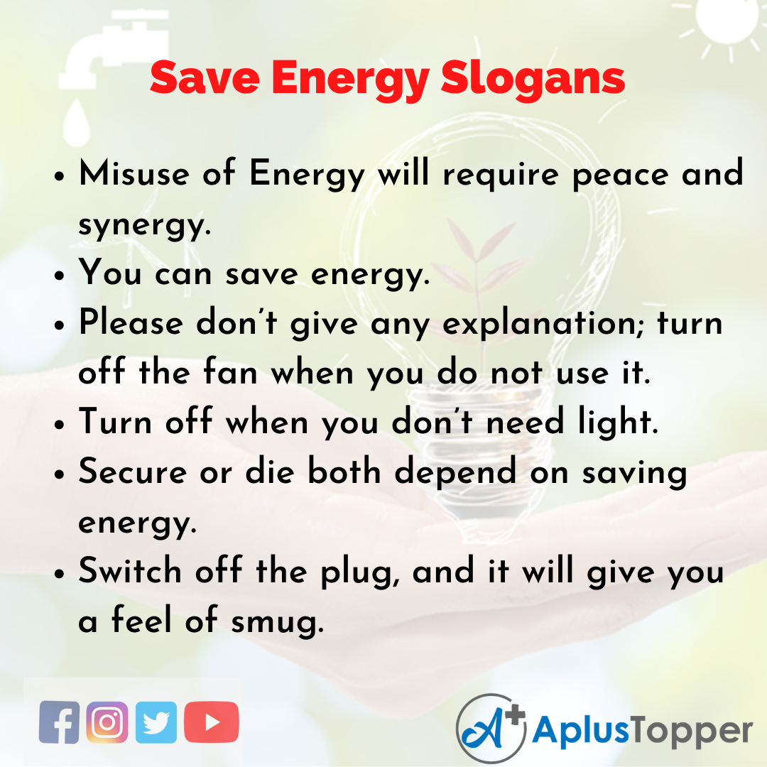 Slogans on Save Energy in English