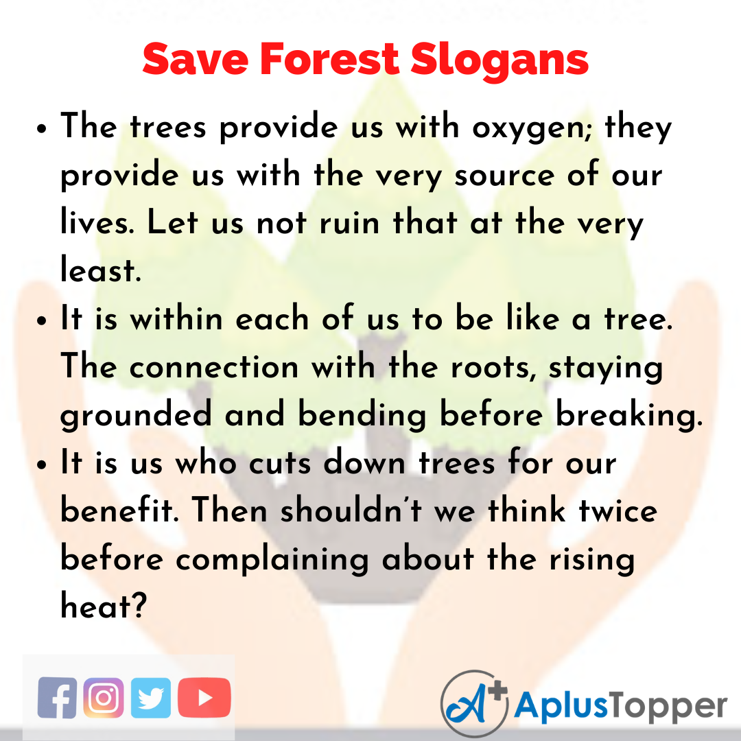 Slogans on Save Forest in English