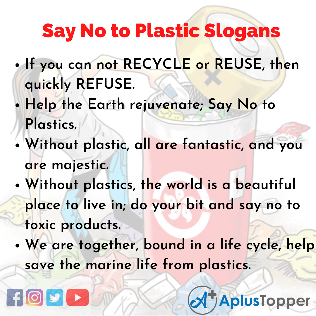 Slogans on Say No to Plastic in English
