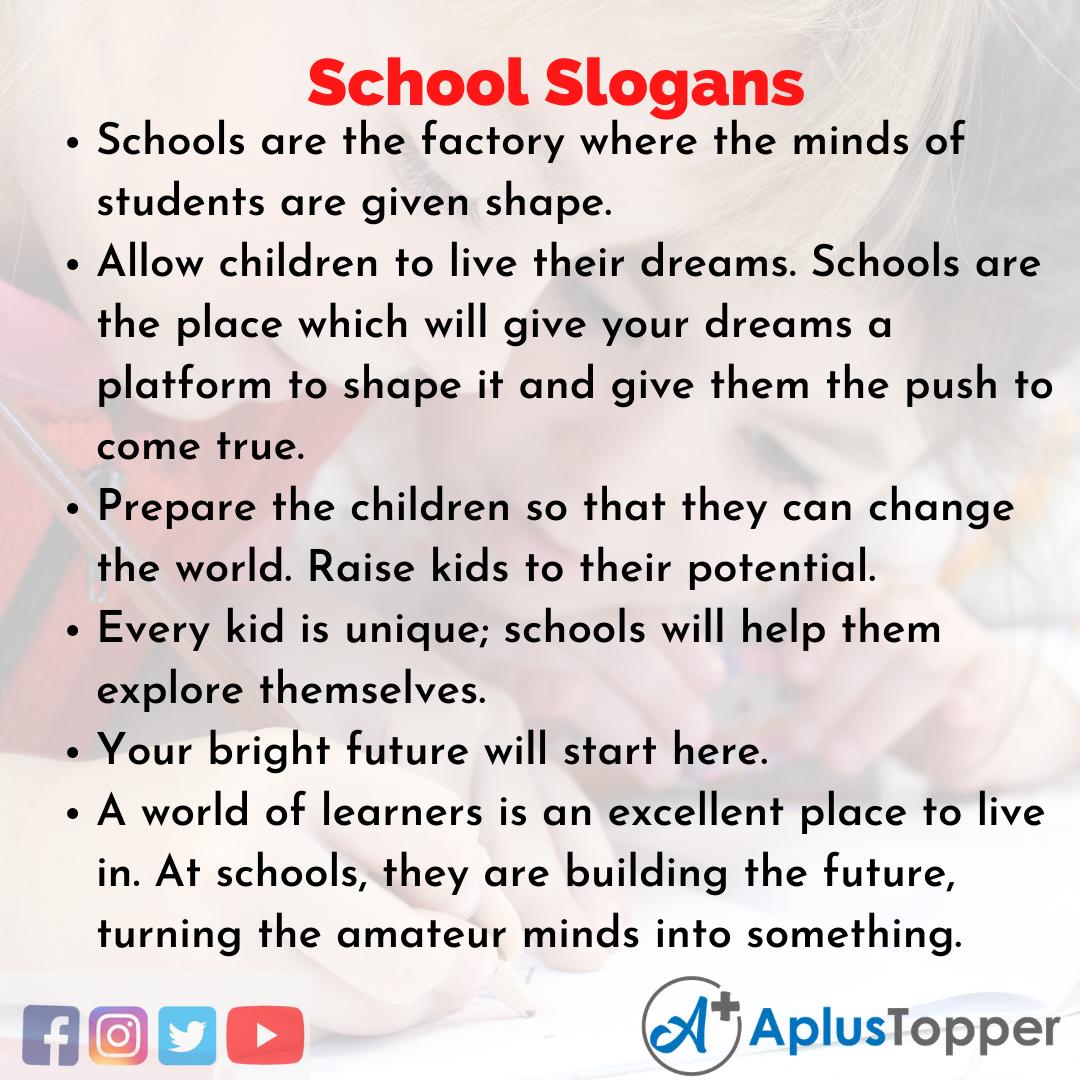 Slogans on School