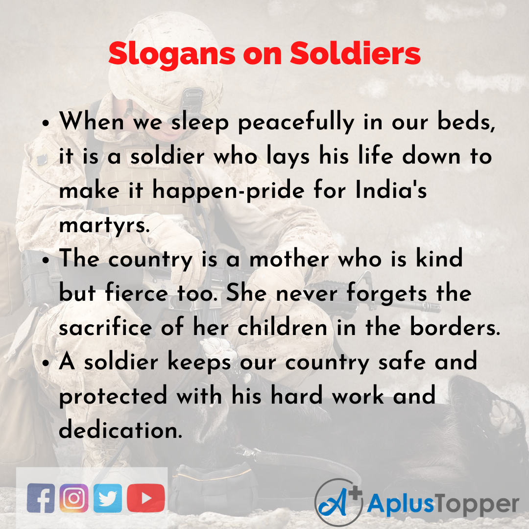 Slogans on Soldiers in English