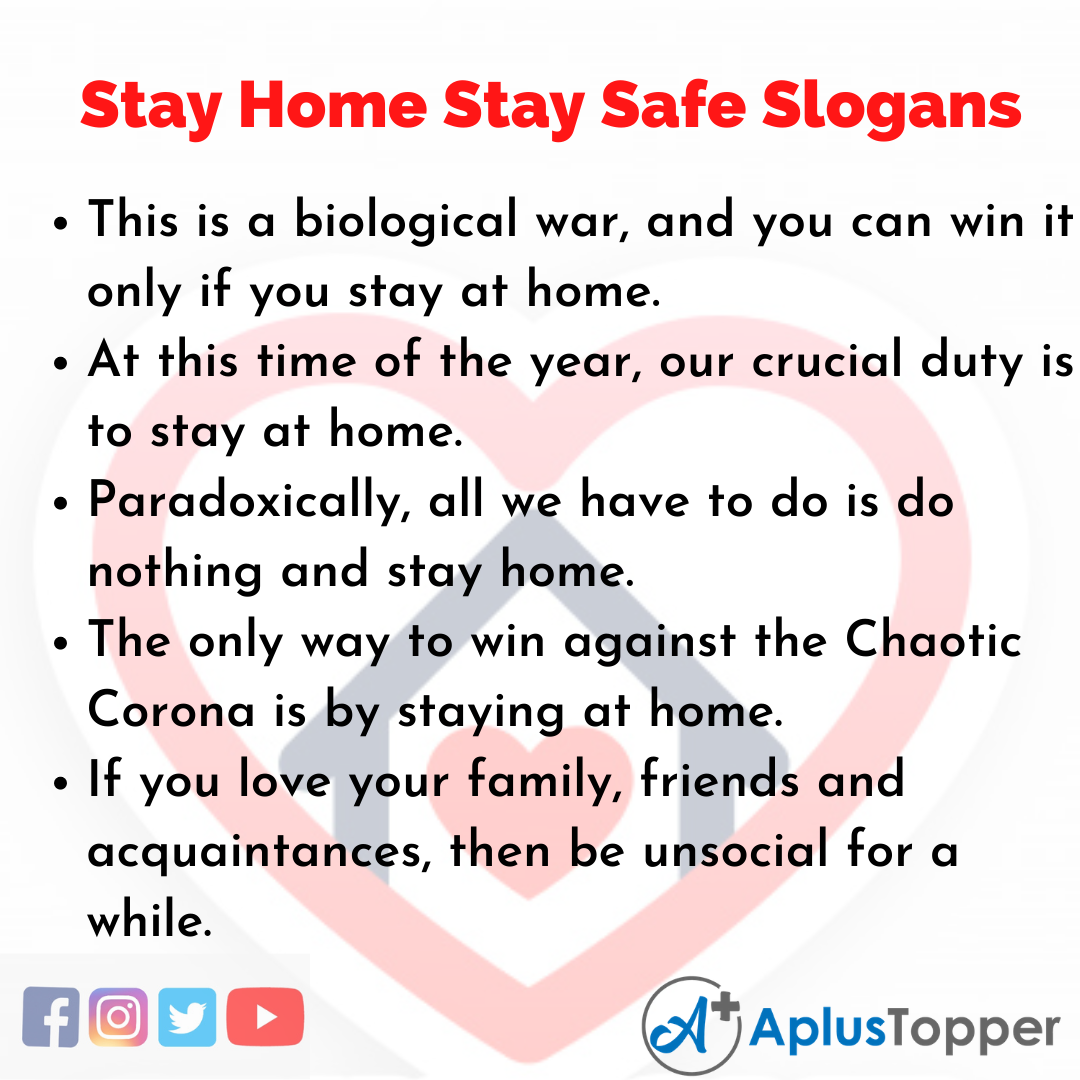 Slogans on Stay Home Stay Safe in English