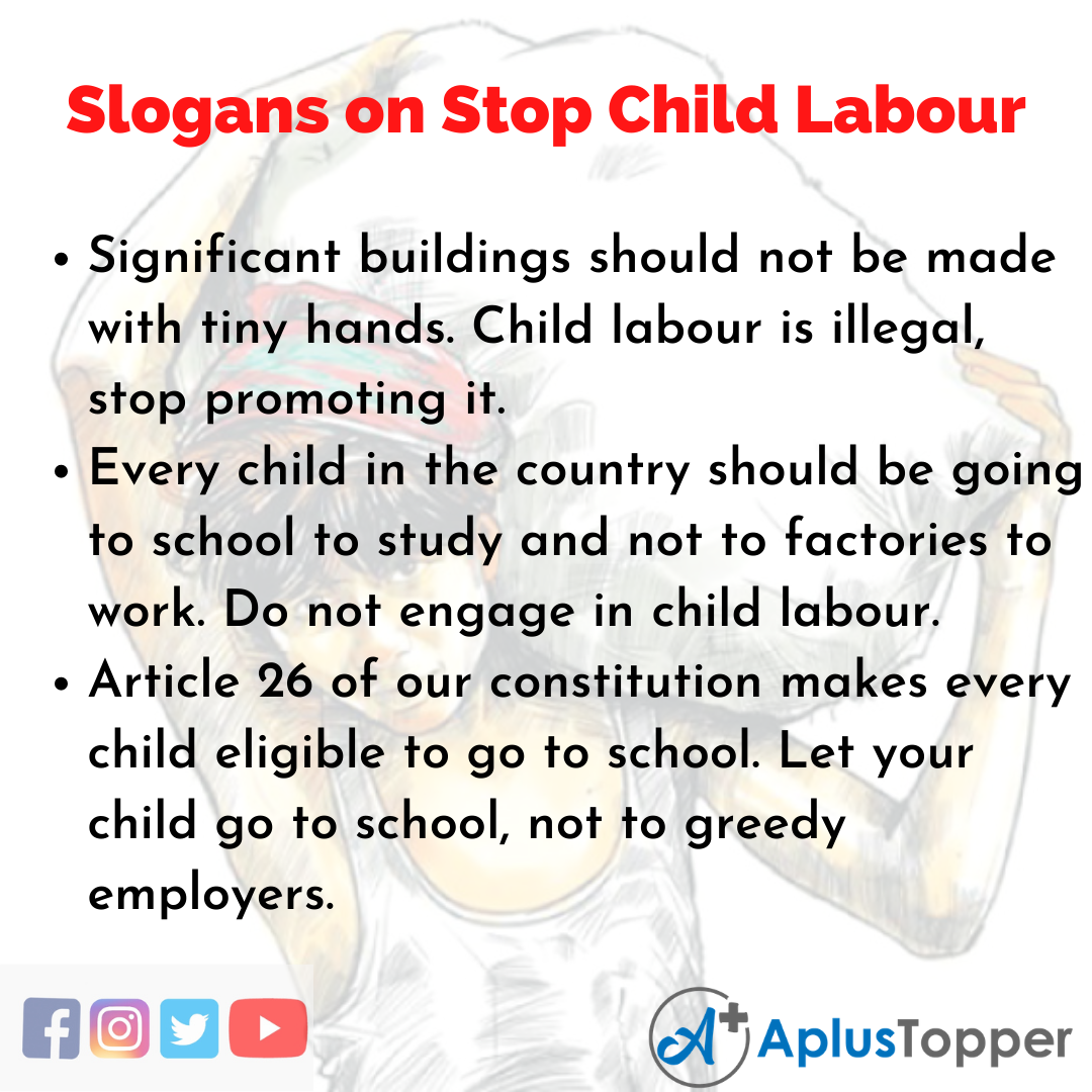 Slogans on Stop Child Labour in English