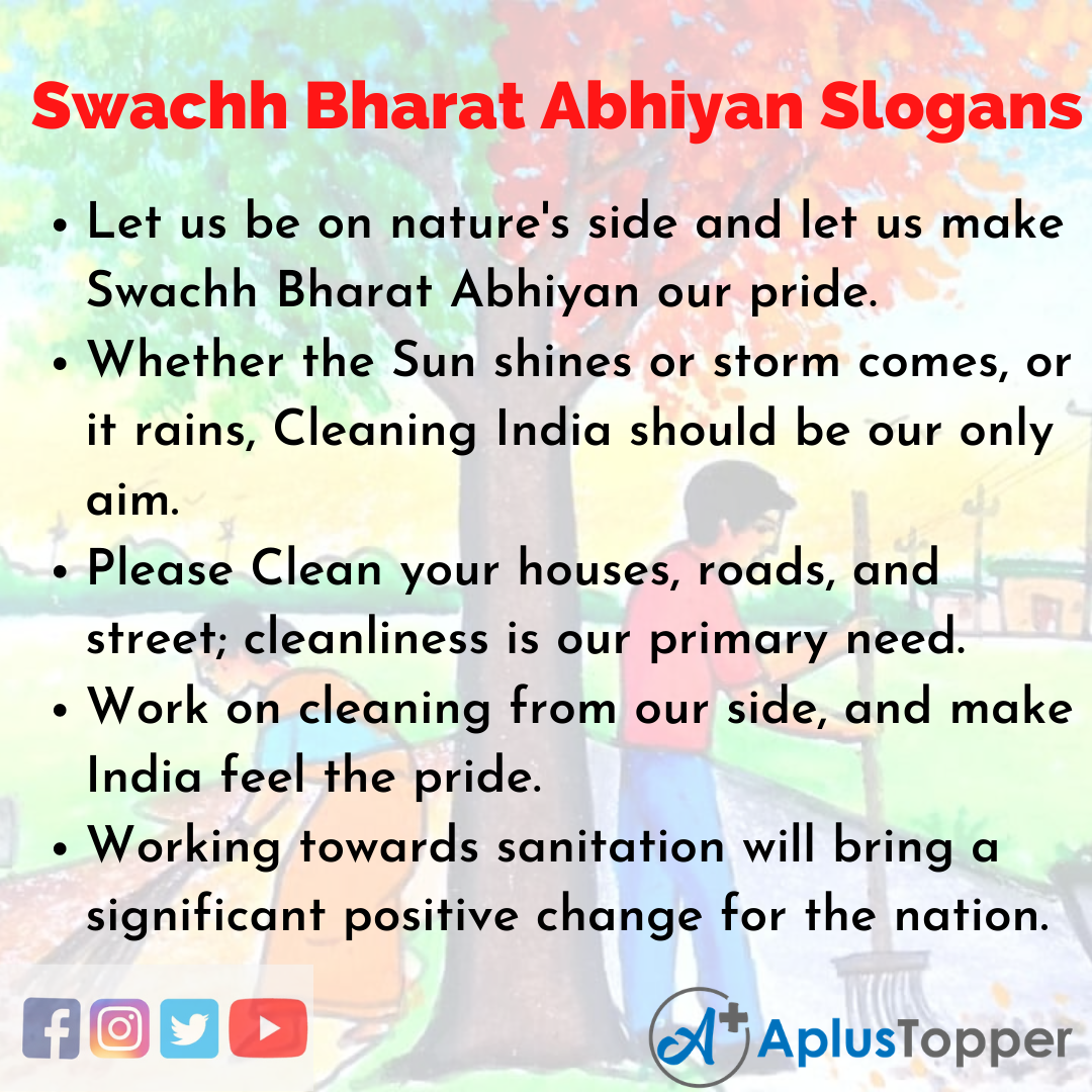 Slogans on Swachh Bharat Abhiyan in English