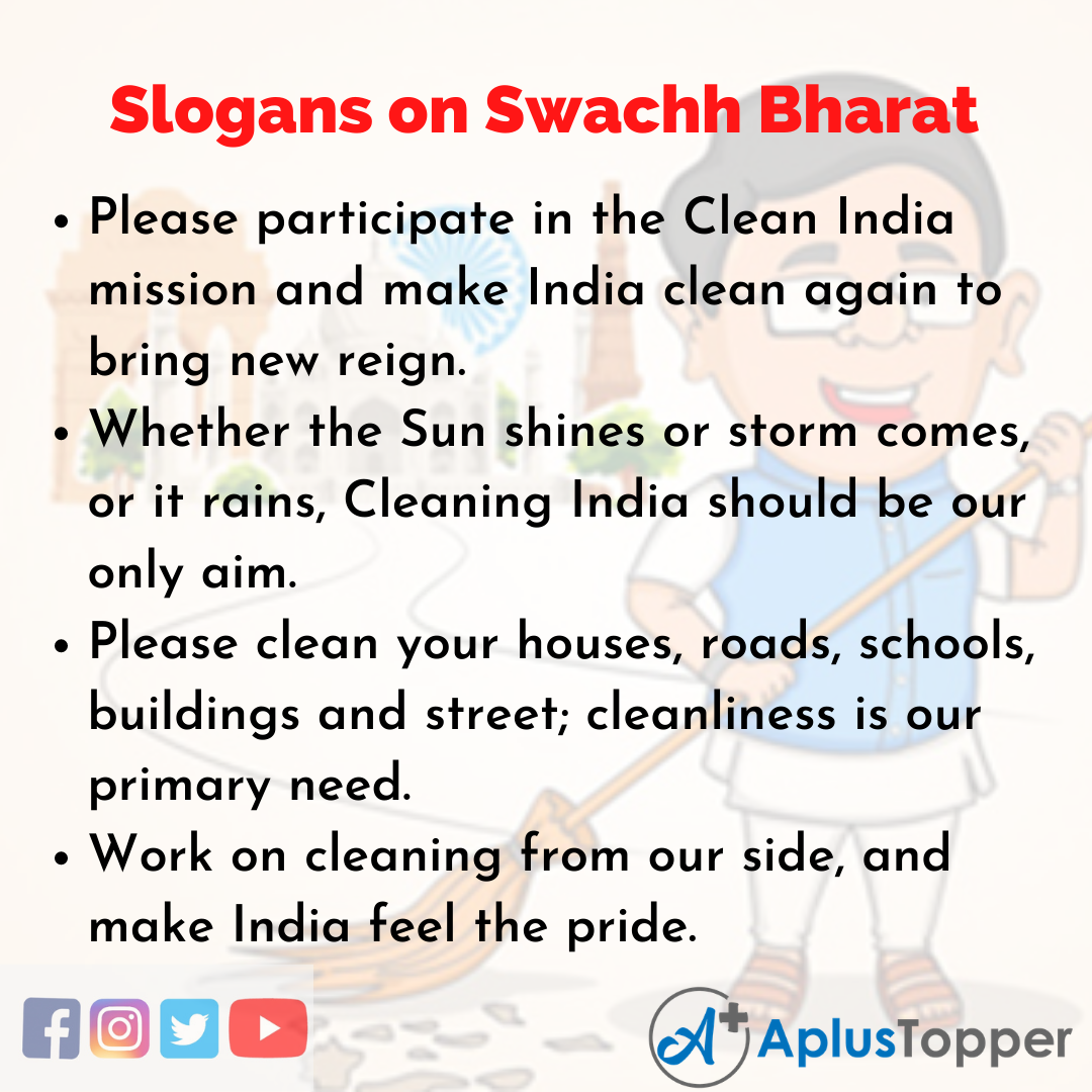 Slogans on Swachh Bharat in English