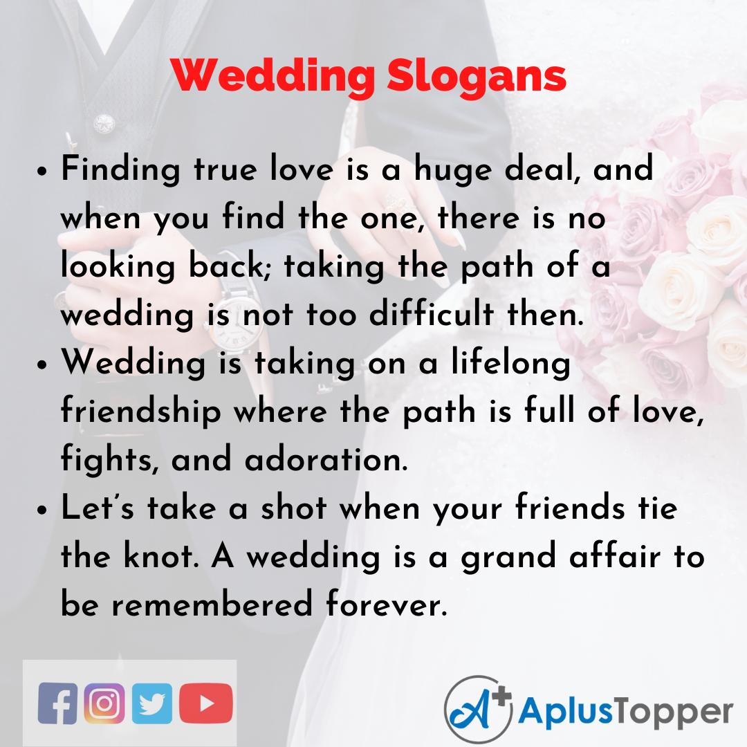Slogans on Wedding in English