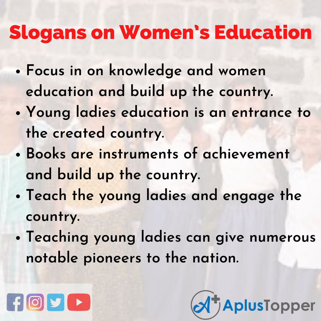 Slogans on Women's Education in English