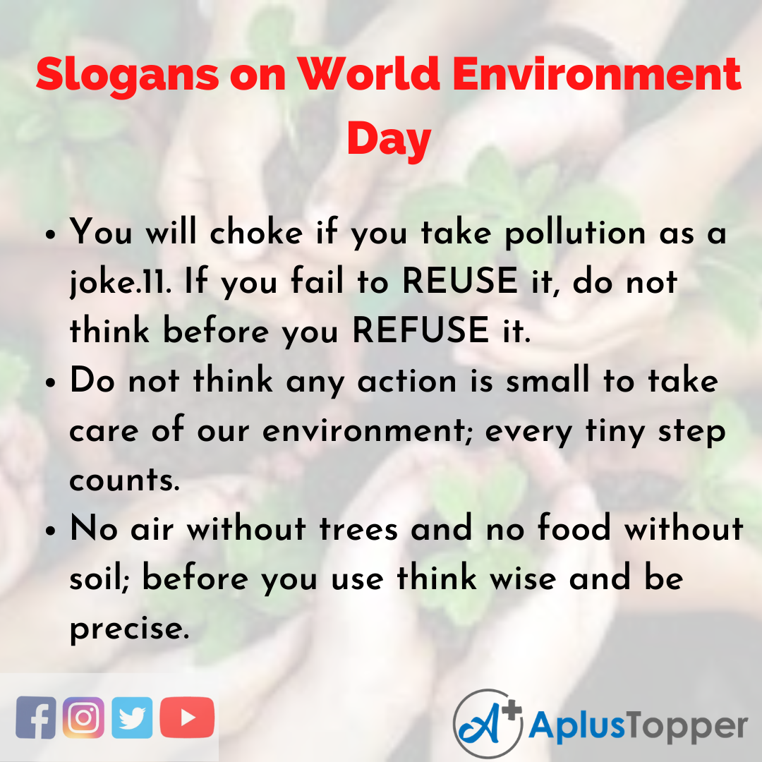 Slogans on World Environment Day in English