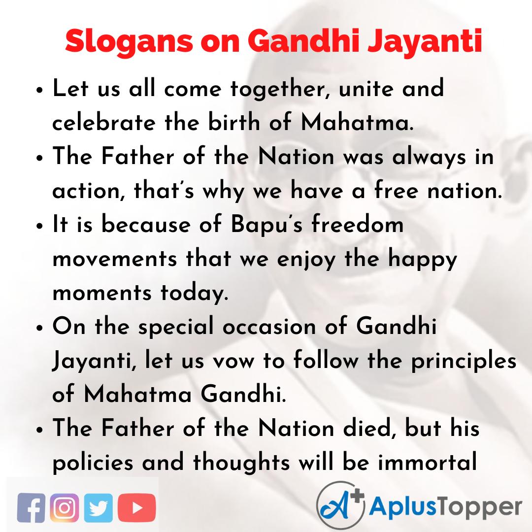 Unique And Catchy Slogans on Gandhi Jayanti