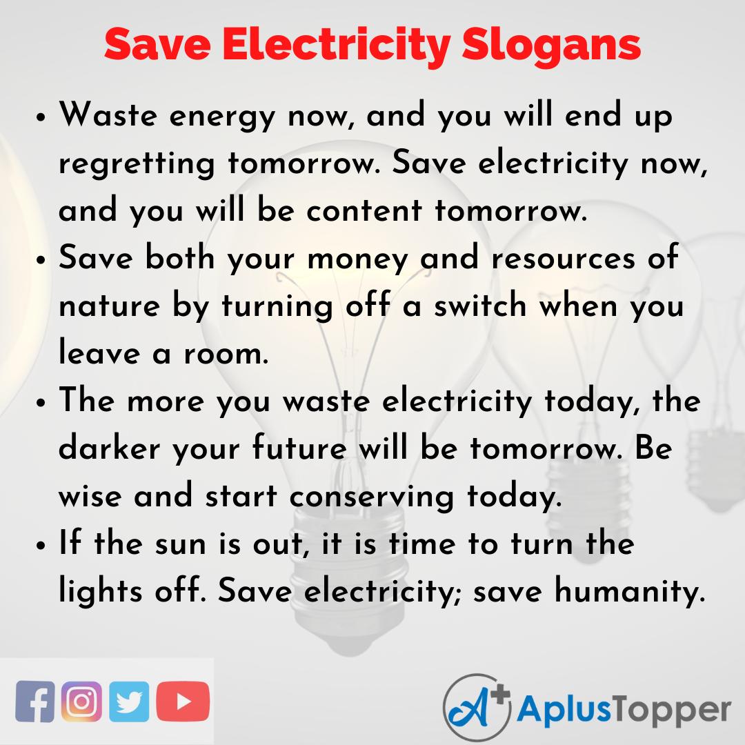 Unique and Catchy Save Electricity Slogans