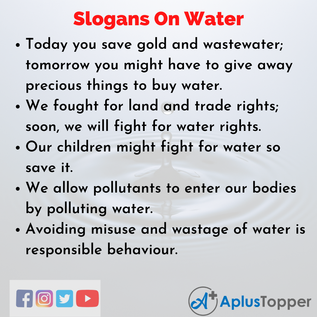 Unique and Catchy Slogans On Water